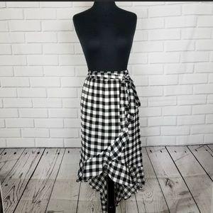 NWT Black & White Large Gingham Hi-lo Skirt